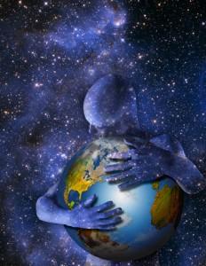 Man Hugging Earth --- Image by © Mike Agliolo/Corbis
